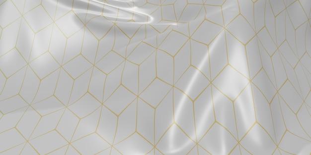 Reich verzierte flagge knittert wellen von stoffstrukturmuster dynamische kurvenleiste 3d-darstellung
