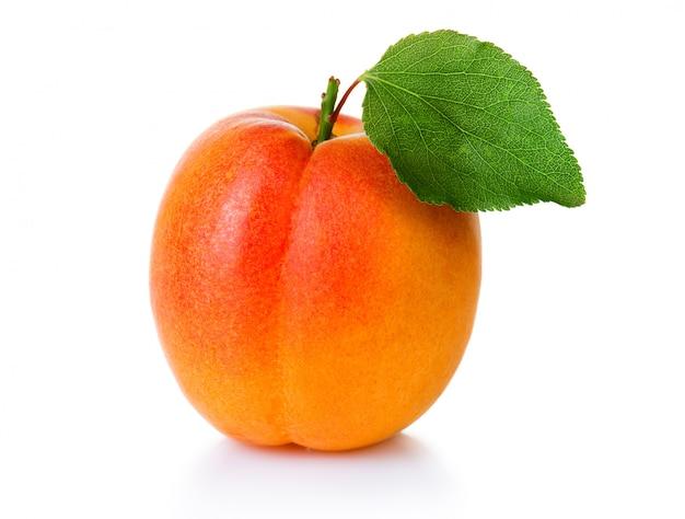 Reife aprikosenfrucht mit grünem blattisolat auf weiß
