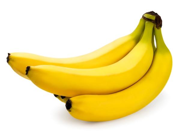 Reife bananen auf weißem grund