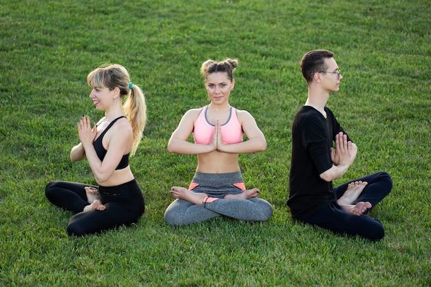 Reife gesunde leute, die yoga im park tun. gruppenleute, die auf grünem gras trainieren