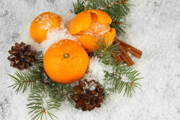 Reife mandarinen mit tannenzweig im schnee hautnah