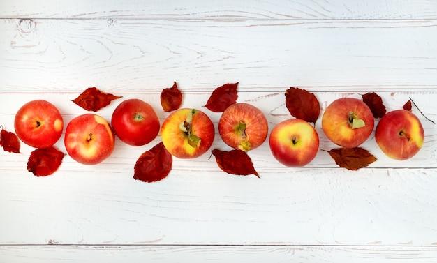 Reife rote äpfel werden in einer reihe auf einer hellen holzoberfläche ausgelegt. herbstfrüchte, ernte.