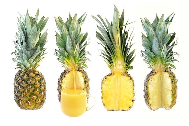 Reife saftige ananas auf weißem hintergrund