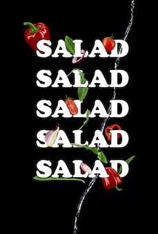Reife tomaten rote paprika zwiebel grünes basilikum und rucola blätter inschrift salat von weißer farbe ...