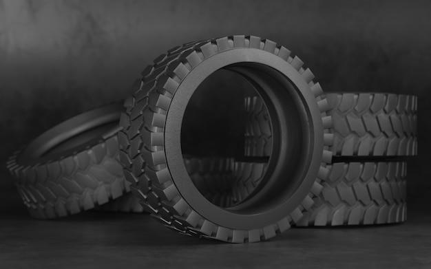 Reifen für lkw oder traktor. schwarze reifen.