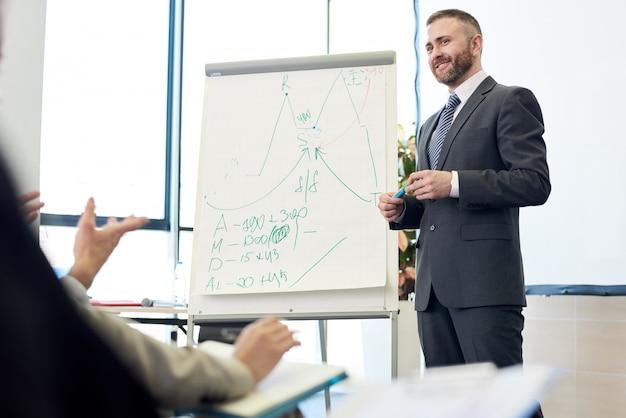 Reifer business coach bei der präsentation