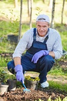 Reifer gärtner, der blumen pflanzt