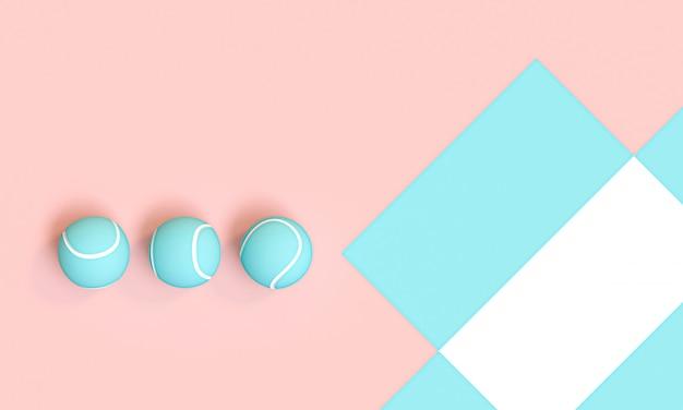 Reihe blaue tennisbälle auf einem rosa und einem weiß
