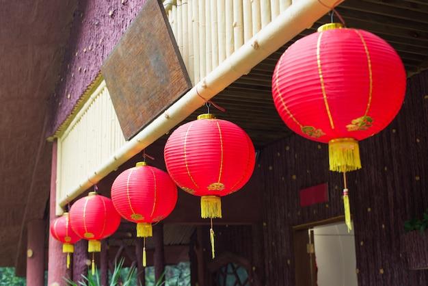 Reihe der chinesischen roten laternen
