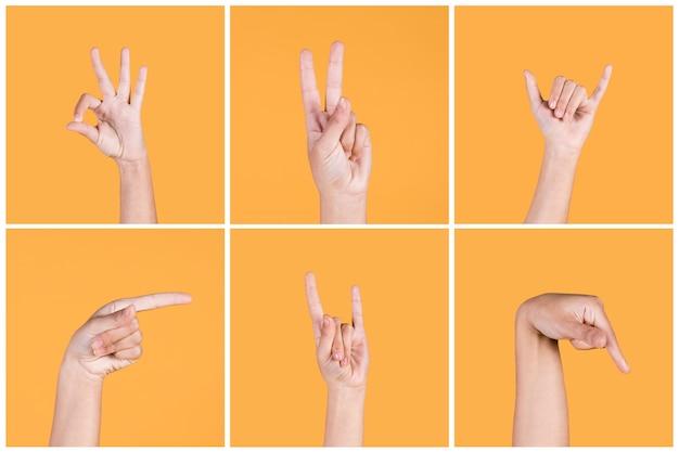 Reihe der menschlichen hand taube gebärdensprache über gelbem hintergrund gestikulierend