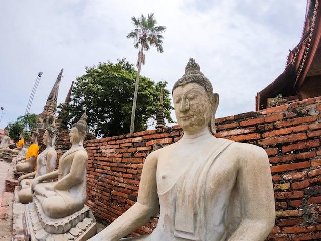 Reihe der weißzementbuddha-statue mit sonnenlicht bei wat yai chai mongkol, si ayutthaya phra nakhon