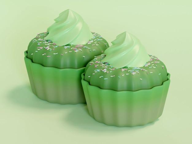 Reihe von bunten cupcakes auf hintergrund isoliert