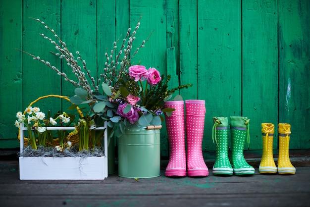 Reihe von drei paaren bunter gummistiefel, eimer mit frischen gartenblumen und schachtel mit wachsenden narzissen entlang der grün gestrichenen wand