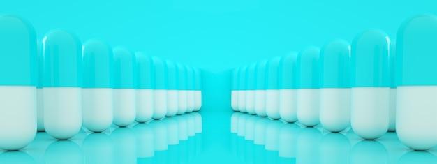 Reihe von kapselpillen über blauem hintergrund, apothekenkonzept, 3d-rendering, panoramabild