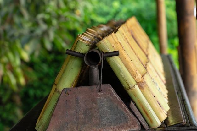Reihe von khaolam, name der thailändischen nahrung, enthält den klebrigen reis, der im bambusstock gebraten wird.