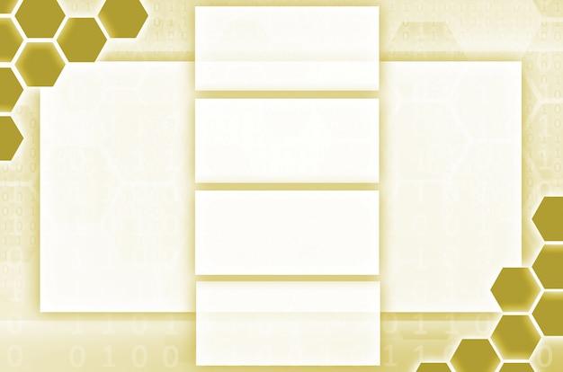 Reihe von sechsecken und rechtecken in gelber farbe