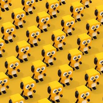 Reihen niedliche cartoon-spielzeug-hundecharakter-personen auf einem gelben hintergrund. 3d-rendering