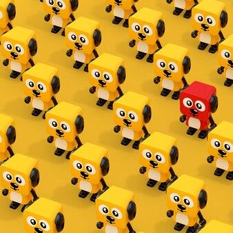 Reihen niedliche cartoon-spielzeug-hundecharakter-personen mit einem rot auf gelbem grund. 3d-rendering