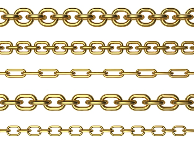 Reihen verschiedener goldketten