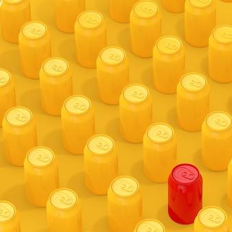 Reihen von gelben isometrischen leeren aluminiumgetränkedosen mit einem rot auf gelbem grund. 3d-rendering