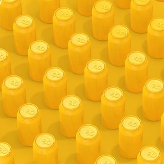 Reihen von gelben isometrischen leeren getränkedosen aus aluminium auf gelbem grund. 3d-rendering
