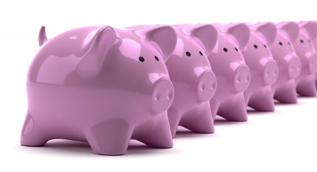 Reihen von rosa sparschweinen