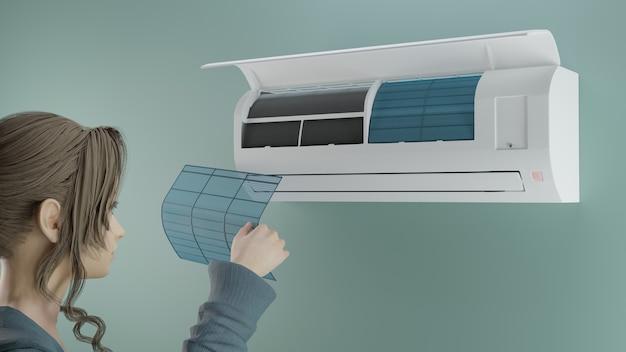 Reinigung des klimaanlagenfilters 3d-rendering