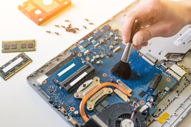 Reinigung, reparatur und verhinderung des laptop-motherboards und -prozessors