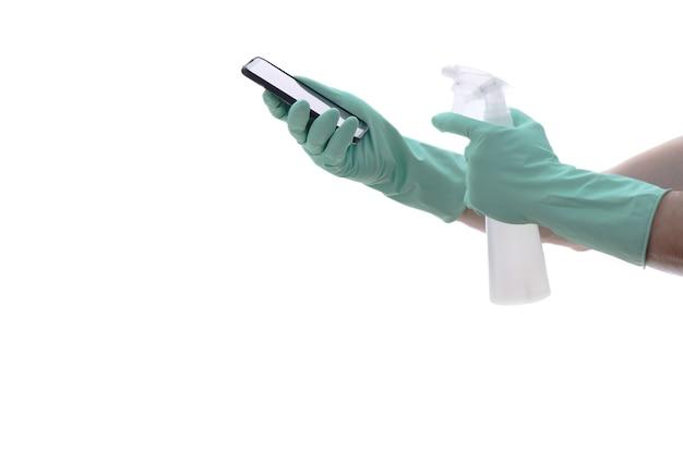 Reinigung und schutz von räumen mit chlor, isoliert auf weiß