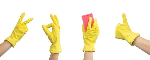 Reinigungskonzept-banner mit hand in gummihandschuh, der verschiedene gesten auf weißem hintergrund macht