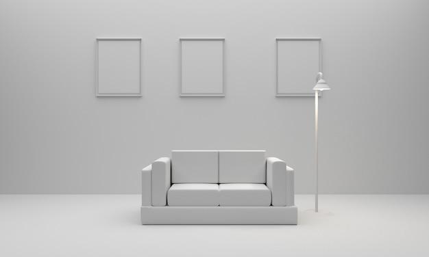 Reinrauminnenraum mit möbeln. abbildung 3d