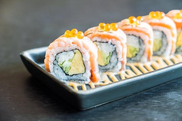 Reis essen frisch orange meeresfrüchte