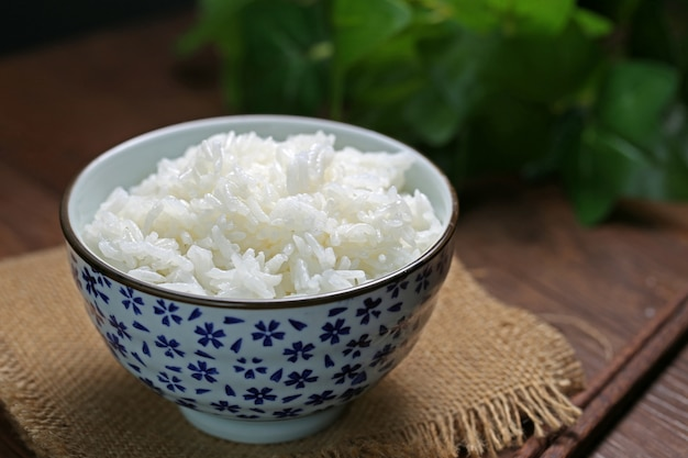 Reis in einer schüssel