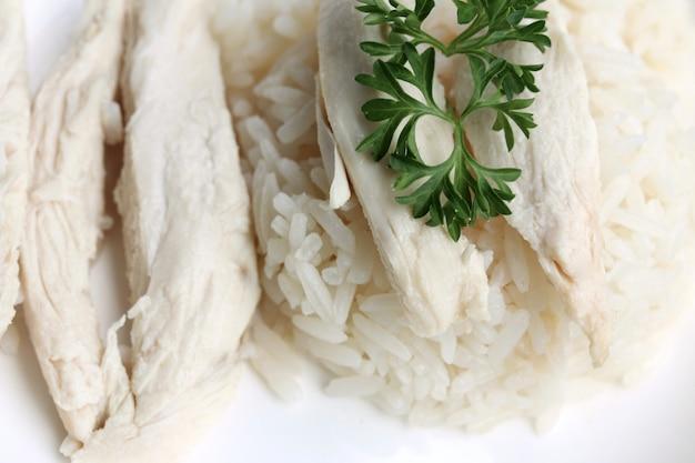 Reis mit huhn gedämpft