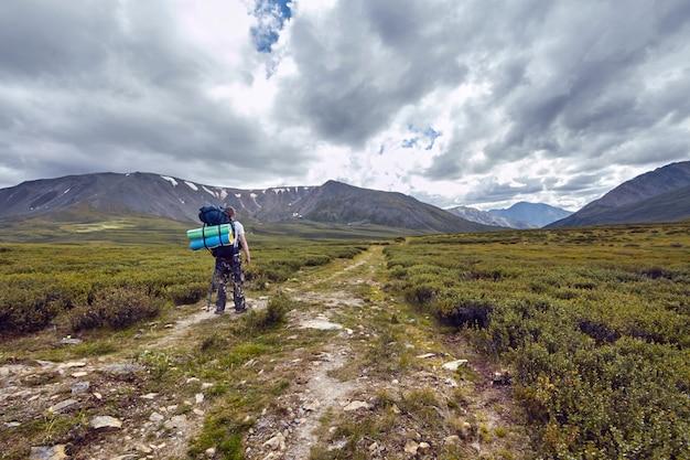 Reise zu fuß durch die gebirgstäler. die schönheit der tierwelt. altai, die straße zu den shavlinsky-seen. wanderung