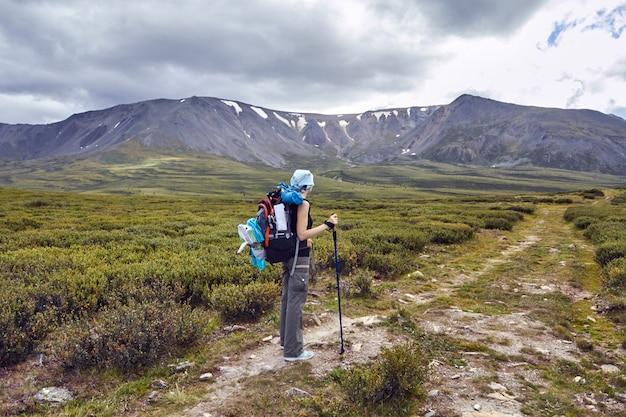Reise zu fuß durch die gebirgstäler. die schönheit der tierwelt. altai, die straße zu den shavlinsky-seen