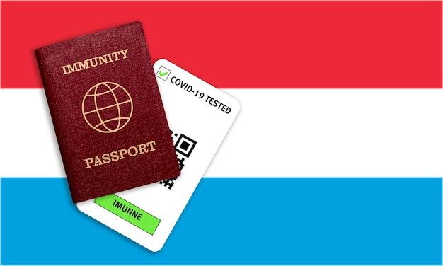 Reisebescheinigung nach einer pandemie für personen, die ein coronavirus hatten oder einen impfstoff hergestellt haben, und testergebnis für covid-19 auf der flagge von luxemburg