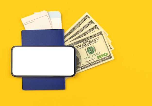 Reisebildschirmmodell mit bordkarte und reisepass mit geld, draufsicht und kopienraum, smartphone-foto