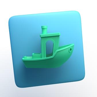Reiseikone mit boot auf lokalisiertem weißem hintergrund. 3d-darstellung. app.