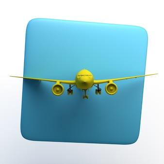 Reiseikone mit flugzeug auf lokalisiertem weißem hintergrund. 3d-darstellung. app.