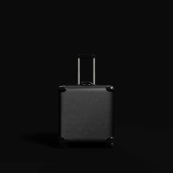 Reisekoffer aus schwarzem leder
