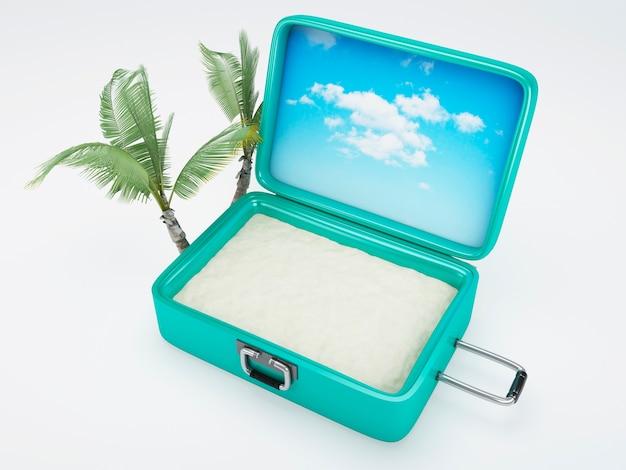 Reisekoffer. strandurlaub. isoliert weiß