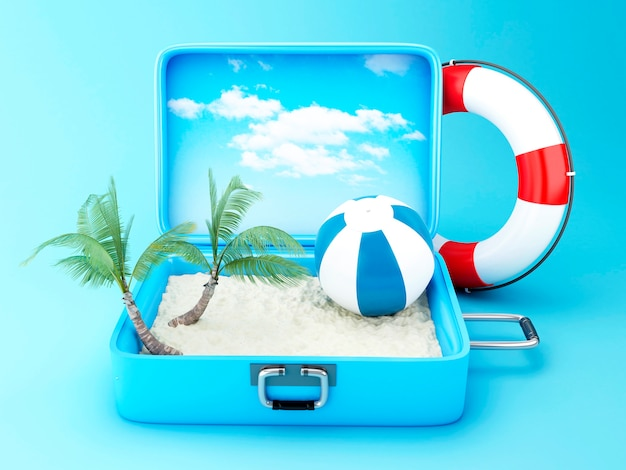 Reisekoffer. strandurlaub konzept