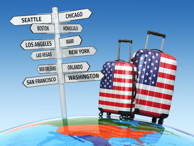 Reisekonzept koffer und wegweiser, was man in den usa besuchen sollte 3d