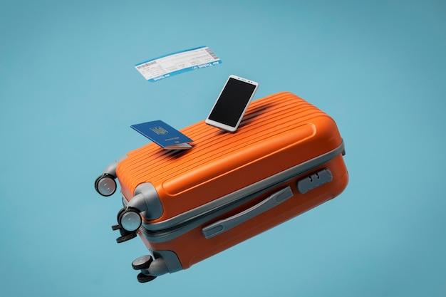 Reisekonzept mit gepäck und reisepass