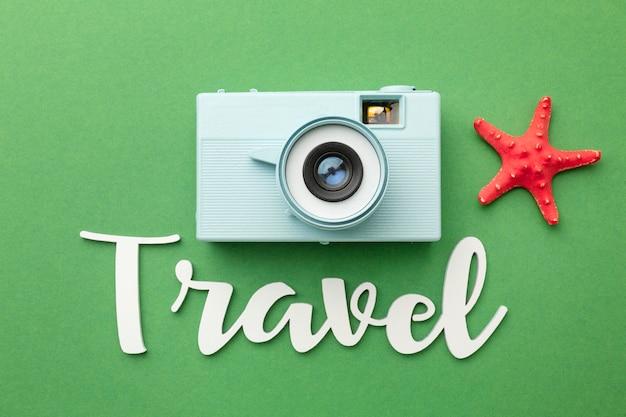 Reisekonzept mit kamera-draufsicht