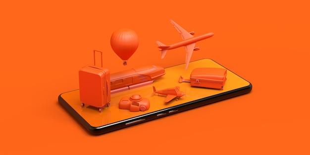 Reisekonzept mit smartphone banner flugzeug zug koffer kamera ballon 3d-darstellung
