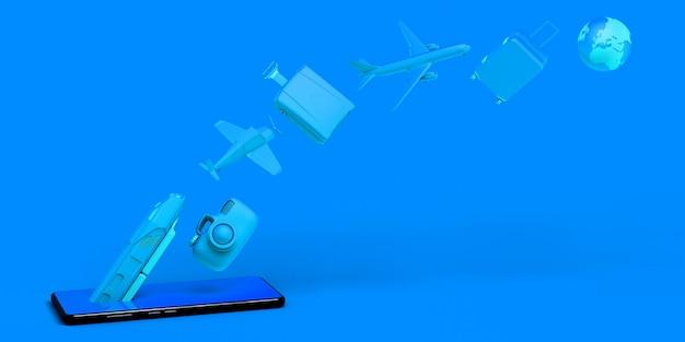 Reisekonzept mit smartphone. banner. flugzeug, zug, koffer, kamera, ballon ...