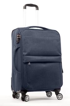 Reisen sie blauen koffer lokalisiert auf weißem hintergrund.