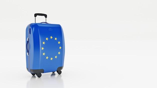 Reisen sie zum konzept der europäischen union koffer mit der flagge der europäischen union auf weißem hintergrund
